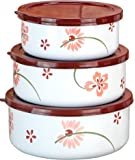 Corelle Coordinates by Reston Lloyd 6-Piece Enamel on Steel Bowl/Storage Set, Pretty Pink