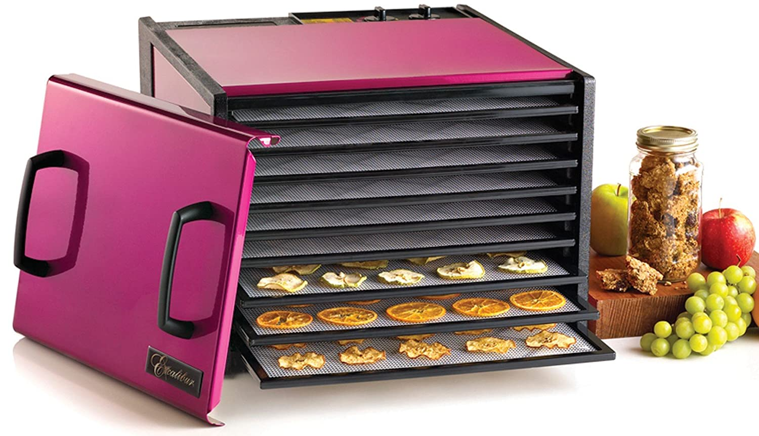 Excalibur D900RR 9-Tray Electric Food Dehydrator with Clear Door for Viewing Progress Features 26-Hour Timer Temperature Settings and Automatic Shut Off Made in USA, 9-Tray, Pink
