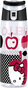 Zak! Designs Tritan Water Bottle with Flip-top Cap with Black and White Hello Kitty Graphics, Break-resistant and BPA-Free Plastic, 25 oz.