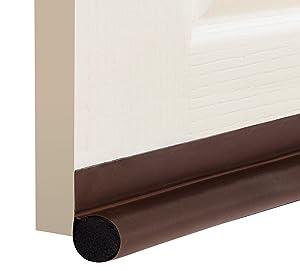 """deeToolMan Door Draft Stopper 36"""" : One Sided Door Insulator with Hook and Loop Self Adhesive Tape Seal Fits To Bottom Of Door/ Door Weather Stripping (Brown)"""