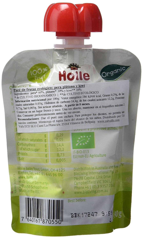 Holle Smoothie Pera, Plátano con Kiwi (+8 meses) - Paquete de 12 x 90 gr - Total: 1080 gr