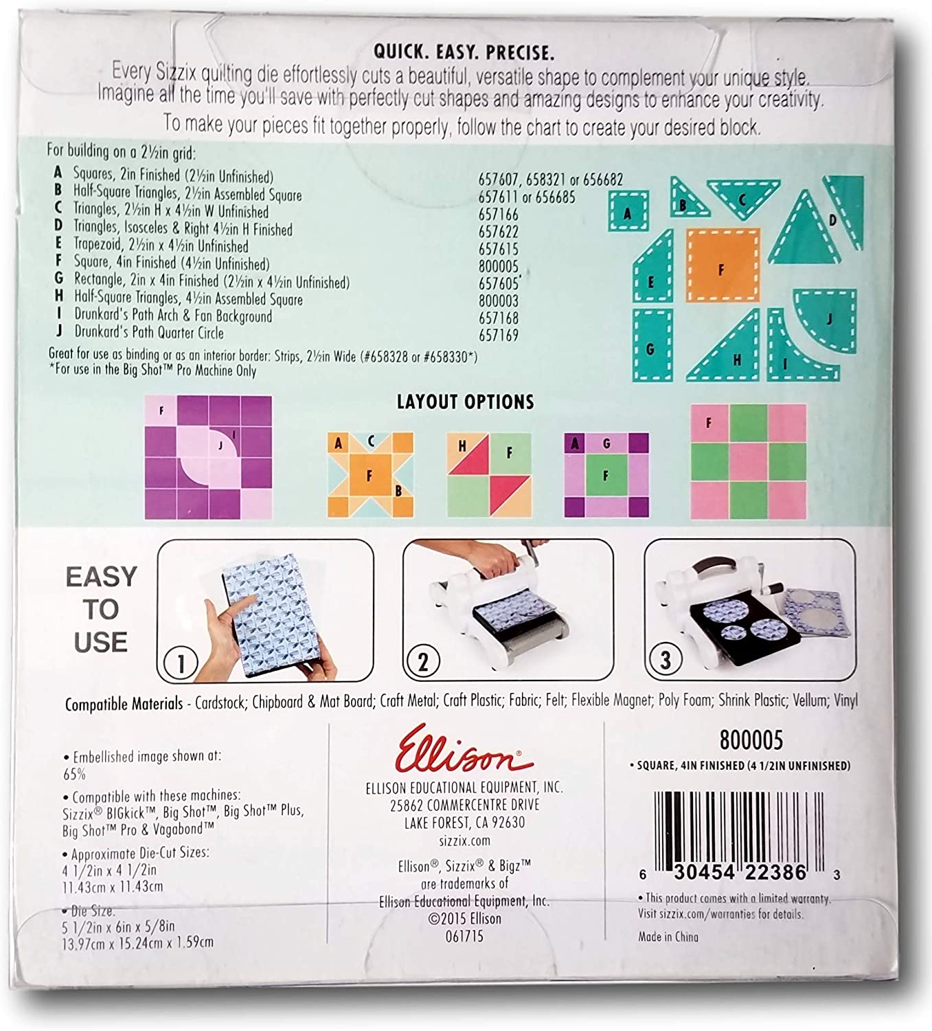 Multi-Colour Sizzix 2 1//2-inch Bigz Die Square Finished