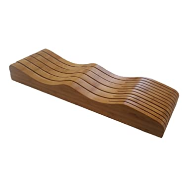In drawer knife block - Bamboo in drawer knife holder - Fits small drawers - Safely stores and protects sharp edges -Fits in small drawers - 11 to 15 knife - Fits long and short knives