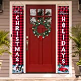 Christmas Banners Porch Sign, Hanging Sign Banner for New Year Christmas Decorations Welcome Door Sign for Home Outdoor…