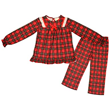 Amazon.com: Holiday Red Plaid Flannel Pajamas with ribbon and lace ...