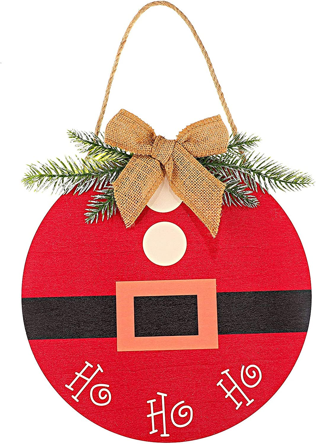 1 Piece Front Door Round Wood Christmas Hanging Sign Christmas Front Door Decorations Rustic Burlap Wooden Holiday Decor with Decorative Bow and Branch for Christmas Holiday Front Door Wall Porch
