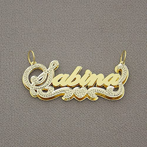 852ac199c873ac Image Unavailable. Image not available for. Color: Personalized 10K Gold 3D  Double Plates Script Name ...
