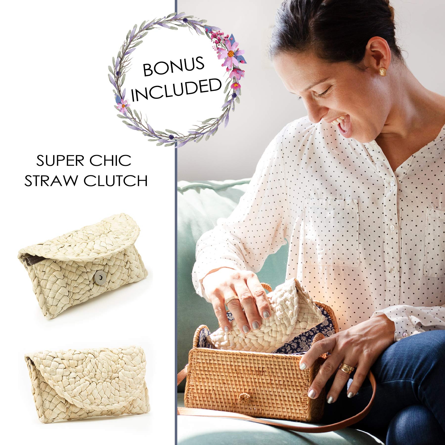 Romi Rattan Bags for Women - Handmade Wicker Woven Crossbody Purse Handbag Boho Handmade Rattan Bag with Removable Strap & Handbag Strap & FREE Straw Rattan Clutch Gift