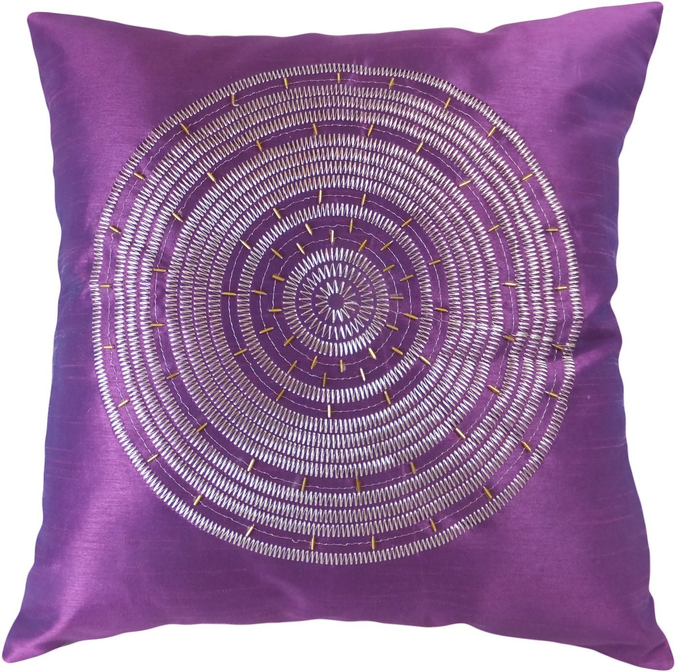 amazoncom decorative emboirdery  beads floral throw pillow  - amazoncom decorative emboirdery  beads floral throw pillow cover purple home  kitchen