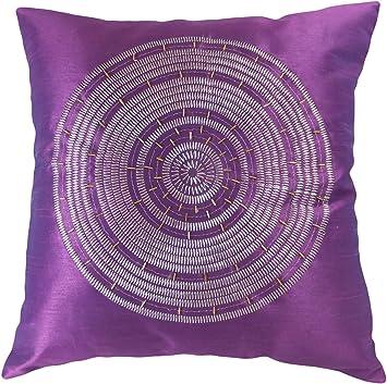 Superior Decorative Emboirdery U0026 Beads Floral Throw Pillow Cover 18u0026quot; Purple