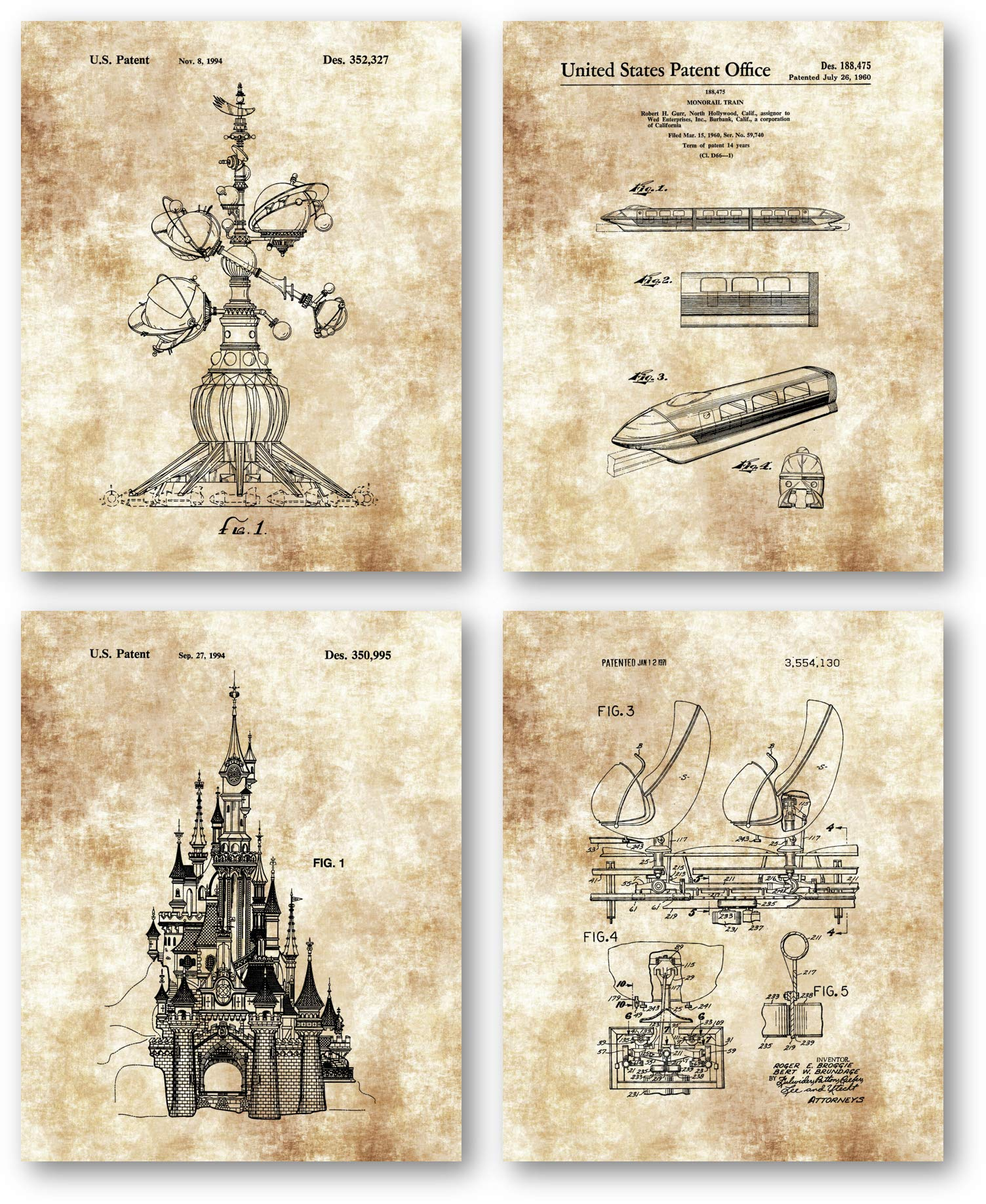 Original Disney Rides Patent Art Prints Drawings - Set of 4 8 x 10 Unframed Prints - Great Gift for Disney Fans and Collectors - Home Office Artwork
