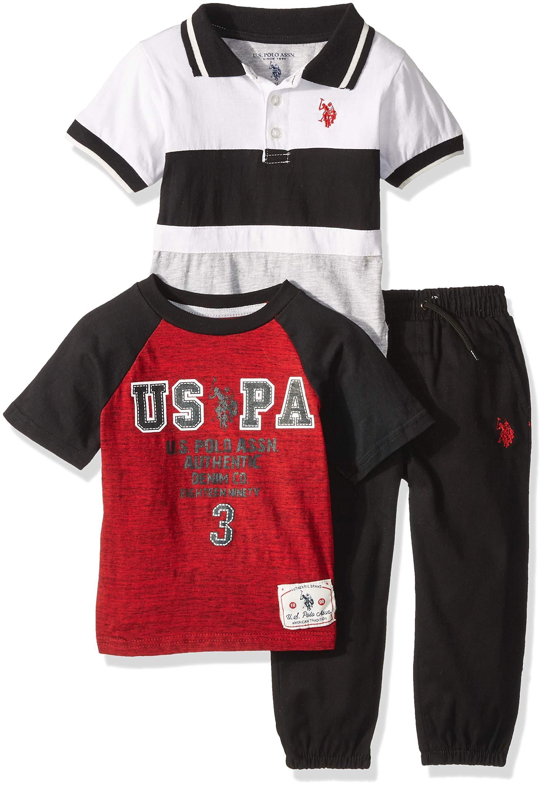 U.S. Polo Assn. Boys' Big Polo, T-Shirt and Pant Set, Authentic Denim Black, 10
