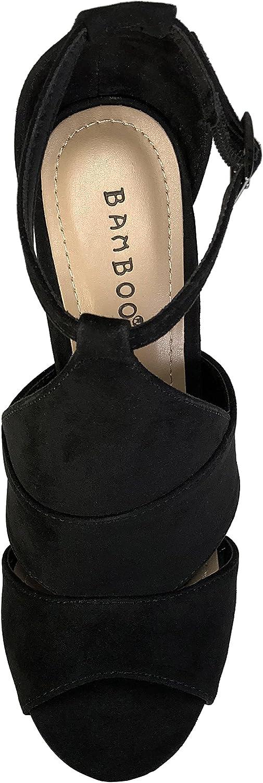 BAMBOO Womens Peep Toe Chunky Heel Sandal
