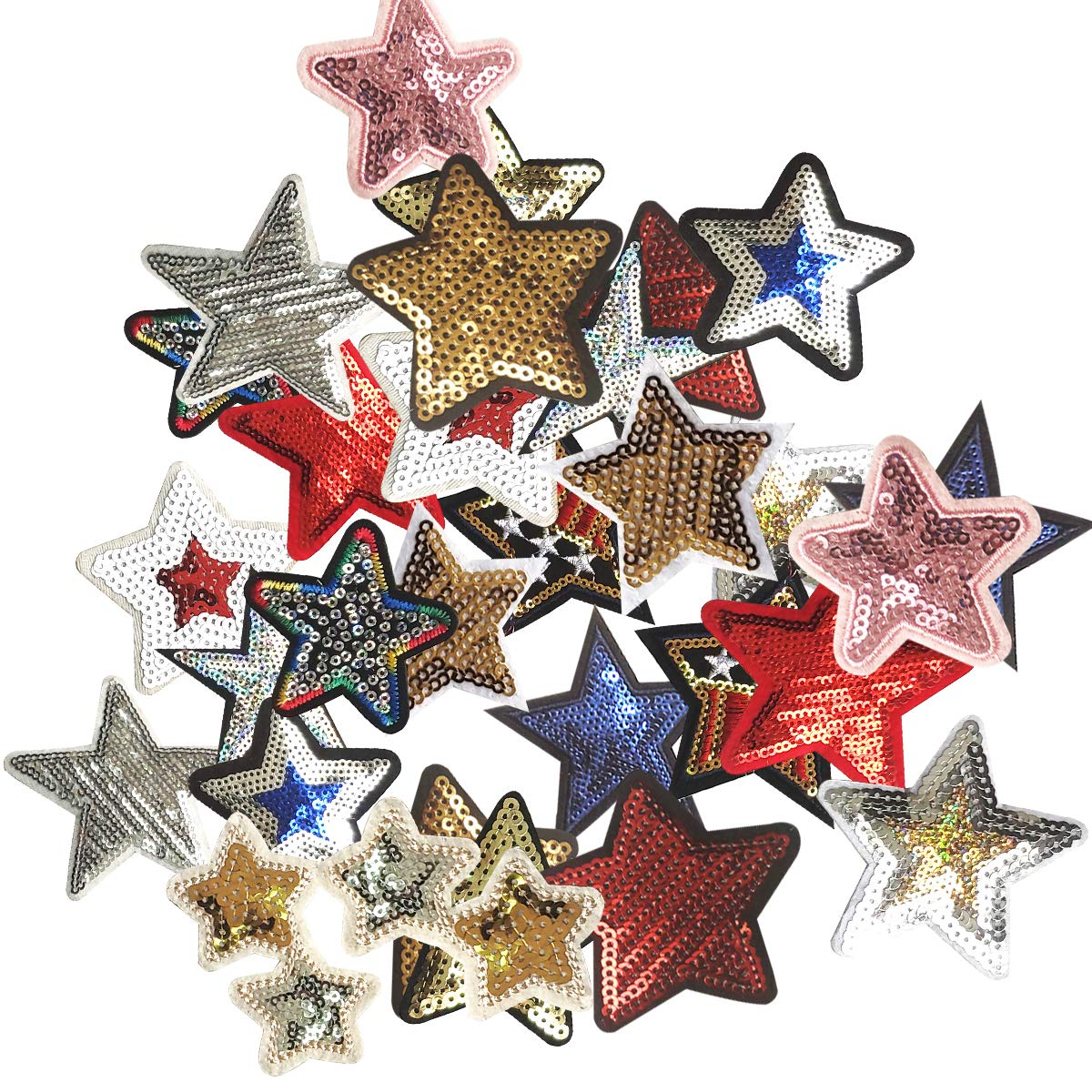 Sequins Star Appliques Patches for Clothing, 30pcs Iron On/Sew On Embroidery Patch Badge for DIY Jeans Jackets T-Shirt Backpacks