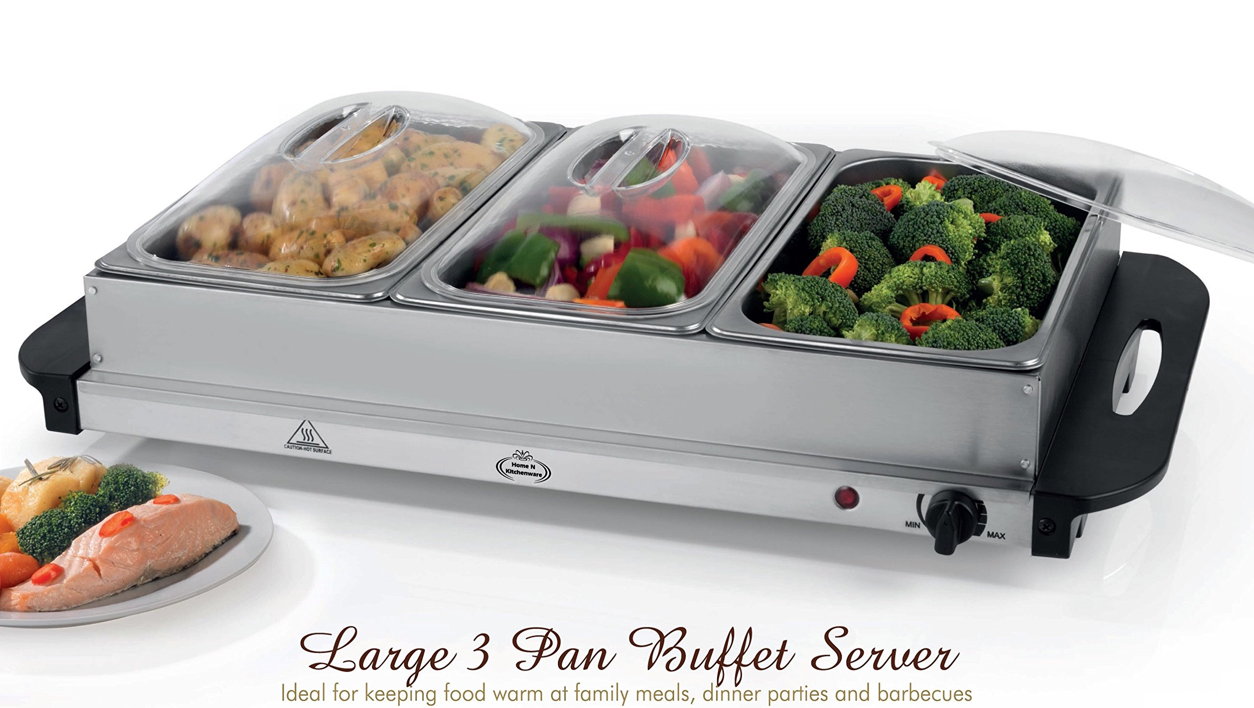 Home N Kitchenware Collection Large 3 Pan Electric Buffet Server, Chafer Stainless Steel, Removable Warming Pans, 300W by Home N Kitchenware