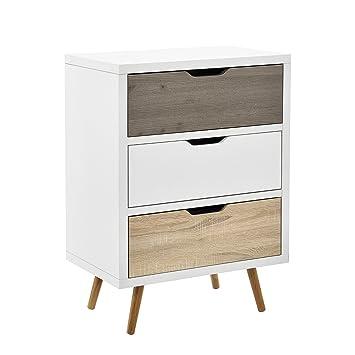en.CASA] Design Highboard Commode Buffet Armoire Blanc/Chêne Table d ...