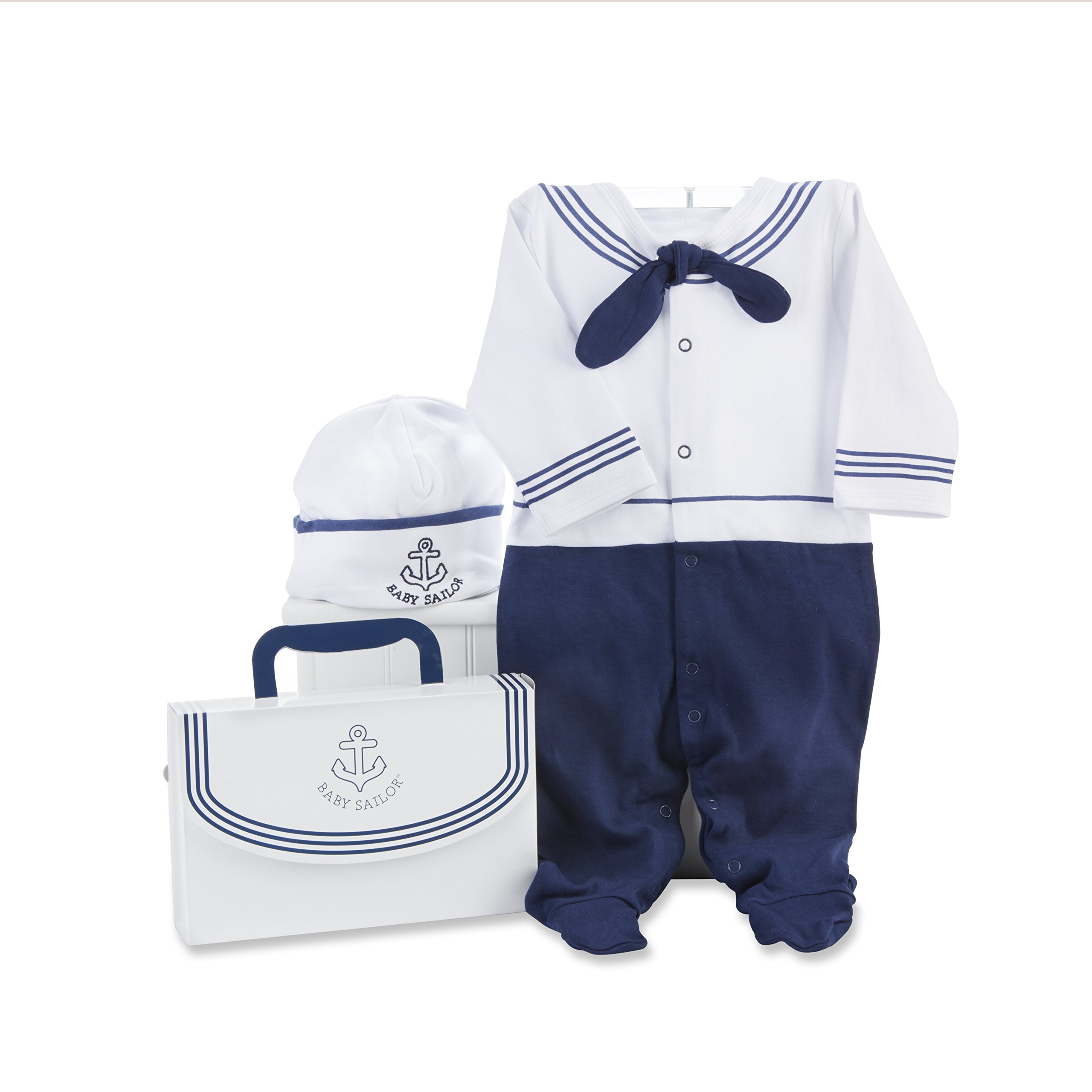 Baby Aspen Big Dreamzzz Baby Sailor Two-Piece Layette Set, Blue/White, 0-6 Months
