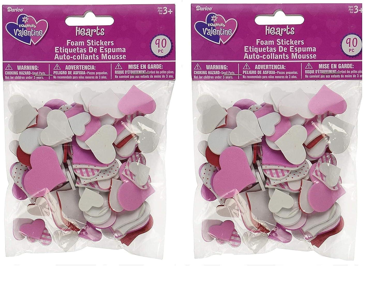 Darice Valentines Day Foam Heart Stickers-180 pc