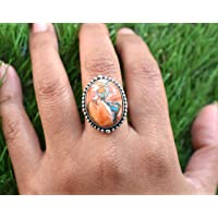 Oval Shape Silver Plated Fashion Jewelery Ring For Gift Treated Turquoise Gemstone GRC-42 Handmade Craft Jewelery Ring Size US-7