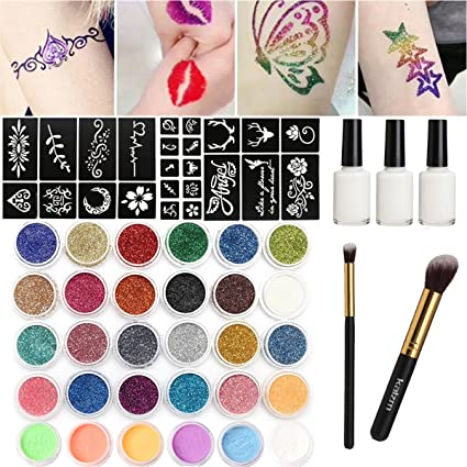 Glitter de tattoo-set, 24 temporales purpurina Tattoo 118 Tattoo ...