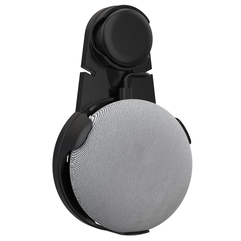 ProCase Supporto per Montaggio a Parete a Muro per Google Home Mini Voice Assistants, Senza Fili o Viti Disordinati, Salvaspazio Staffa di Montaggio a Spina in Cucina Bagno e Camera da Letto – Nero