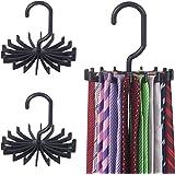KIMIANDY 3 Pack Tie Rack Hanger Holder Hooks Organizer for Mens, 360 Degree Rotating tie Racks,Black