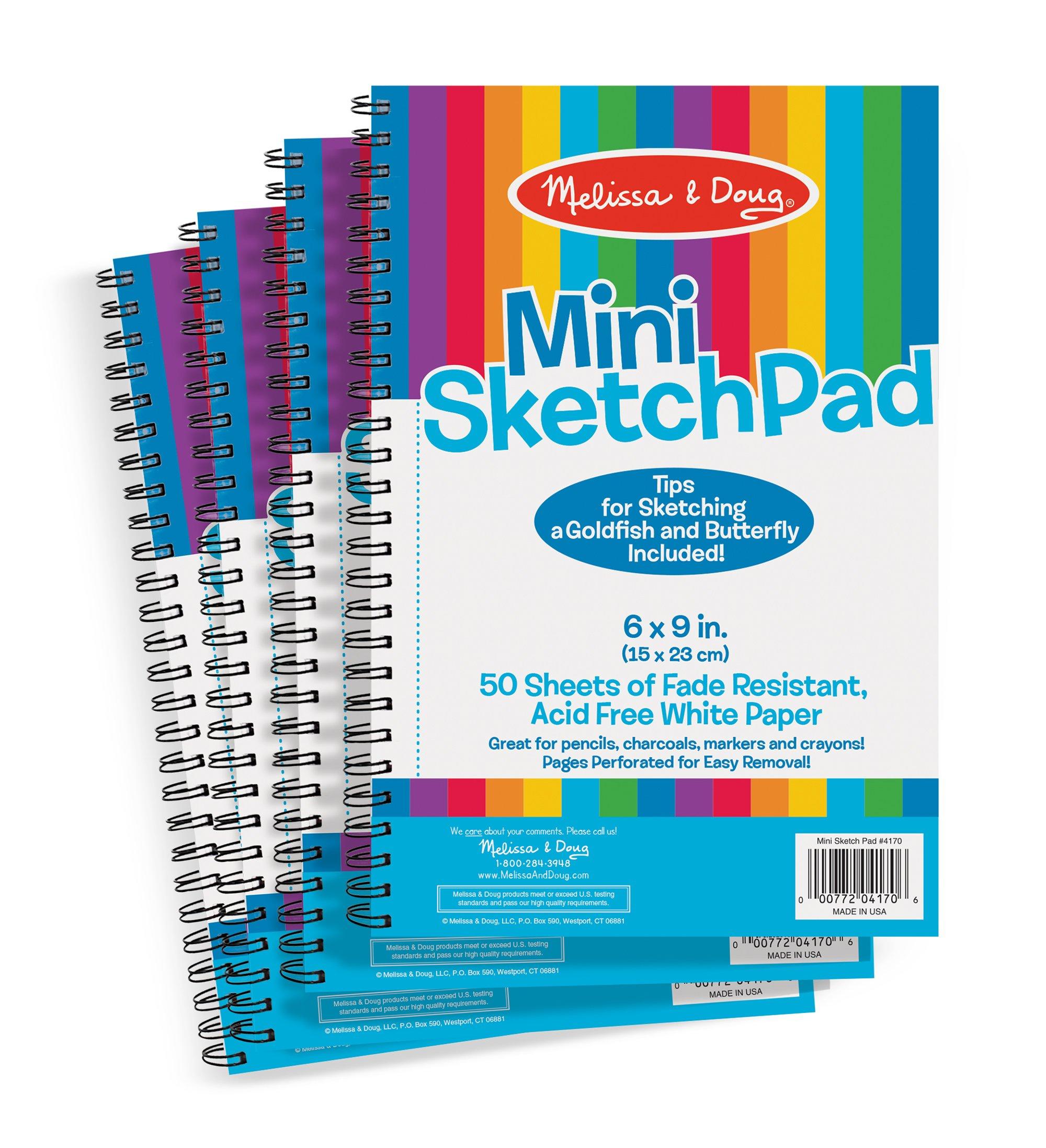 "Melissa & Doug Mini-Sketch Pads, 4-Pack (Arts & Crafts, Fade-Resistant, Acid-Free White Paper, 50 Pages, 9"" H x 6"" W x 0.25"" L)"