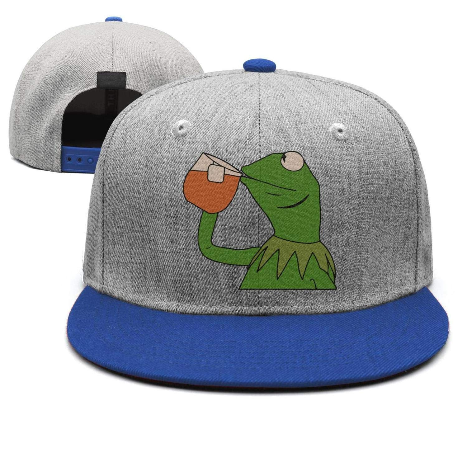 28a3b833691 KERMIT TEA Hat StrapBack none of my business Emoji Frog James meme Cap at  Amazon Men s Clothing store