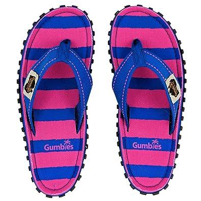2c13d615757538 Gumbies - Islander Canvas Flip-Flops Blue   Pink Stripe  Amazon.co.uk   Shoes   Bags