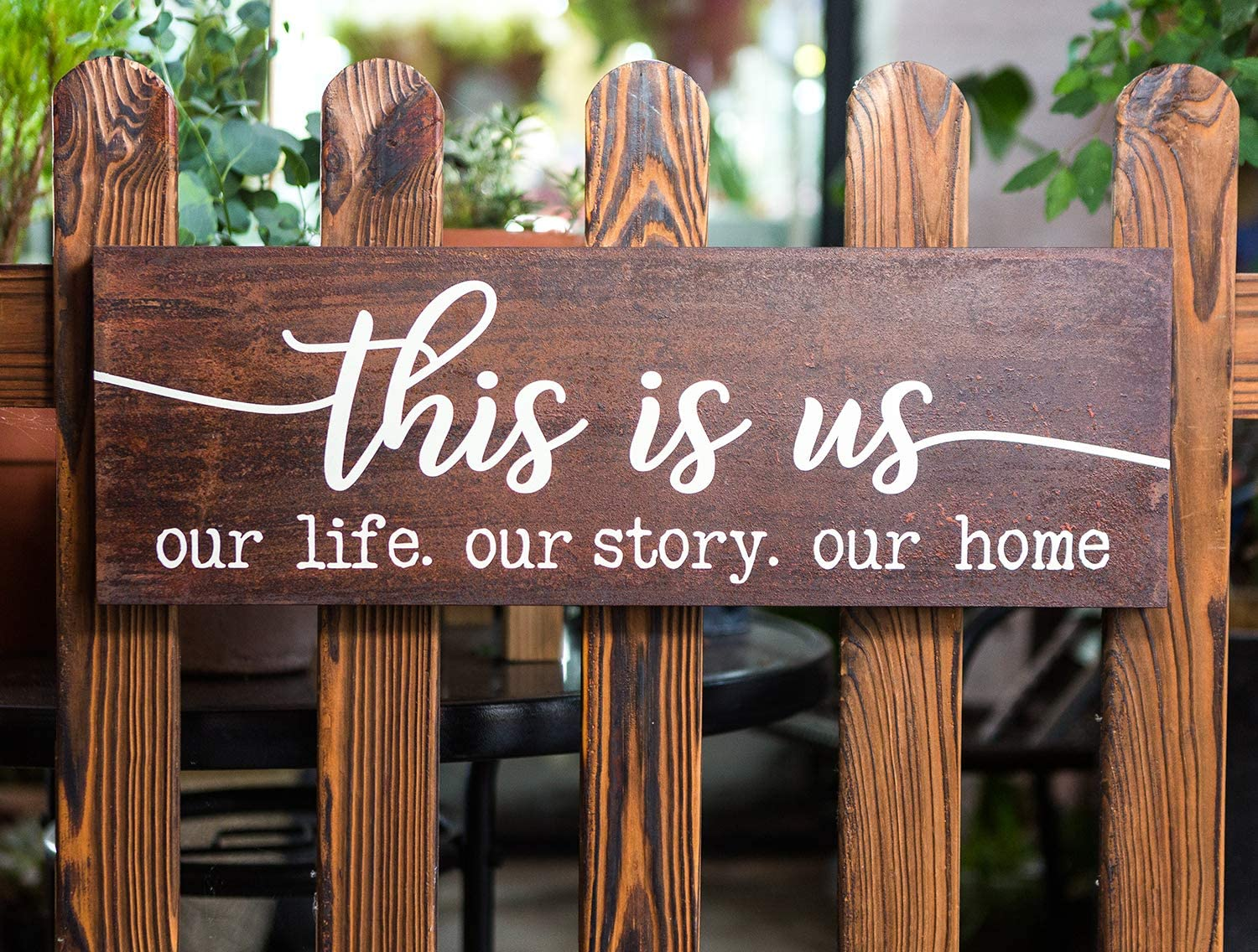 "This is Us Our Life Our Story Our Home Rustic Rusty Metal Wall Sign 7x21""Home and Kitchen Retro Decorative Signs Plaques"