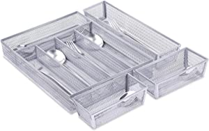 Mesh Kitchen Drawer Organizer, 5+3 Separate Compartments Silverware Organizer/Cutlery Tray, Flatware Tray Utensil Silverware Storage with Anti-slip Mats