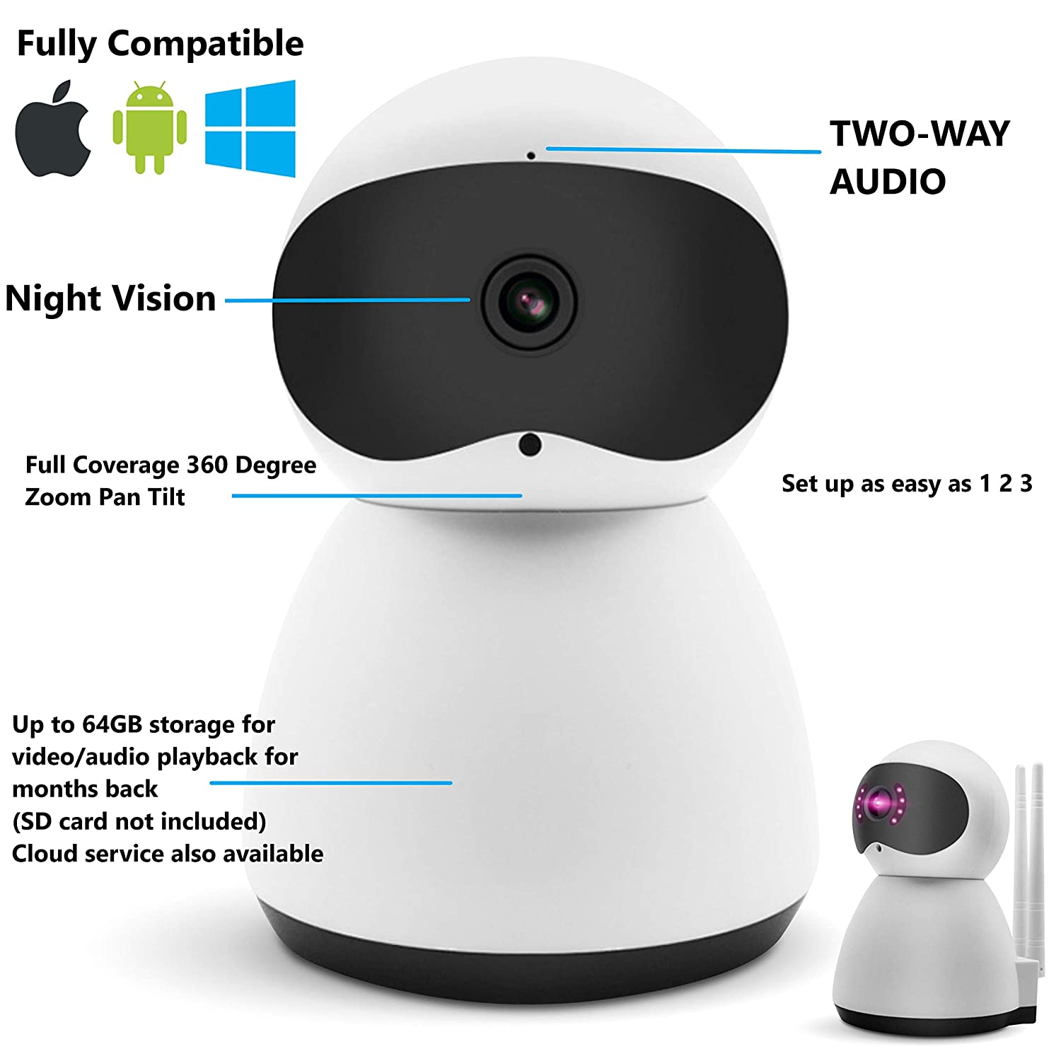 Smart WiFi Camera 1080P High Definition Wireless Home Business Security Surveillance Cam Recorder – Pet Baby Nanny Elder Monitor, 360 Degree, Night Vision, Two-Way Audio, Motion Sound Detection