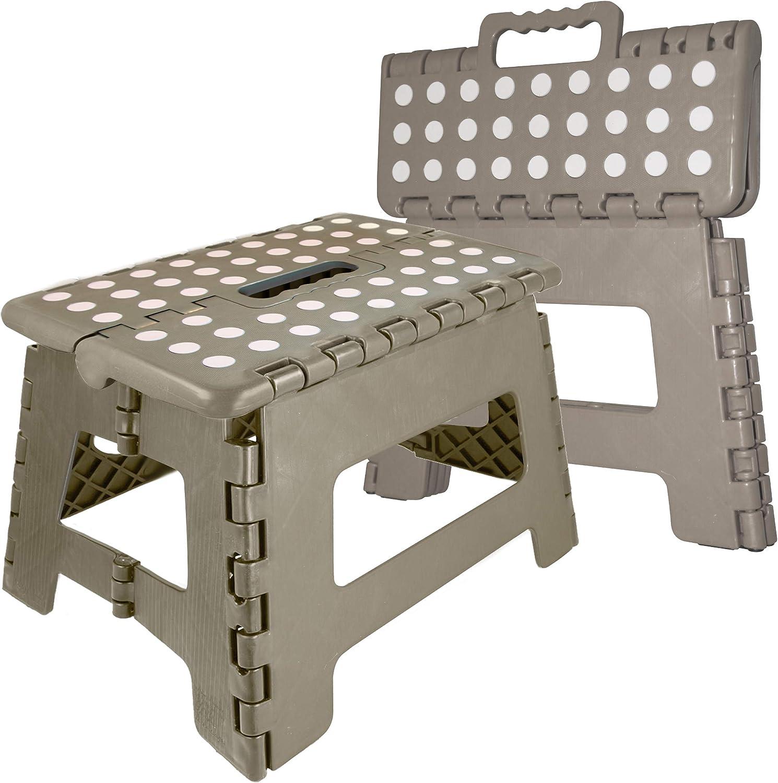 Tragbarer Tritthocker mit einer Stufe stabil sicher robust robuste Stahlmatte rutschfest zusammenklappbar