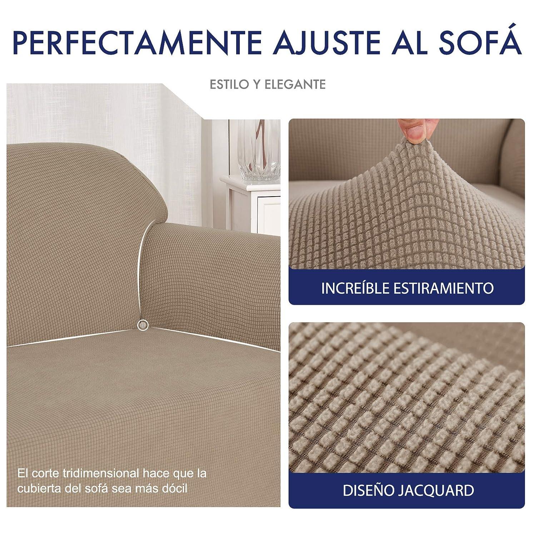 subrtex 1 Pieza Funda de Sofá Poliéster Elástica Cubierta de Asiento Forro de Sofá Doméstico (1 Plaza, Arena)