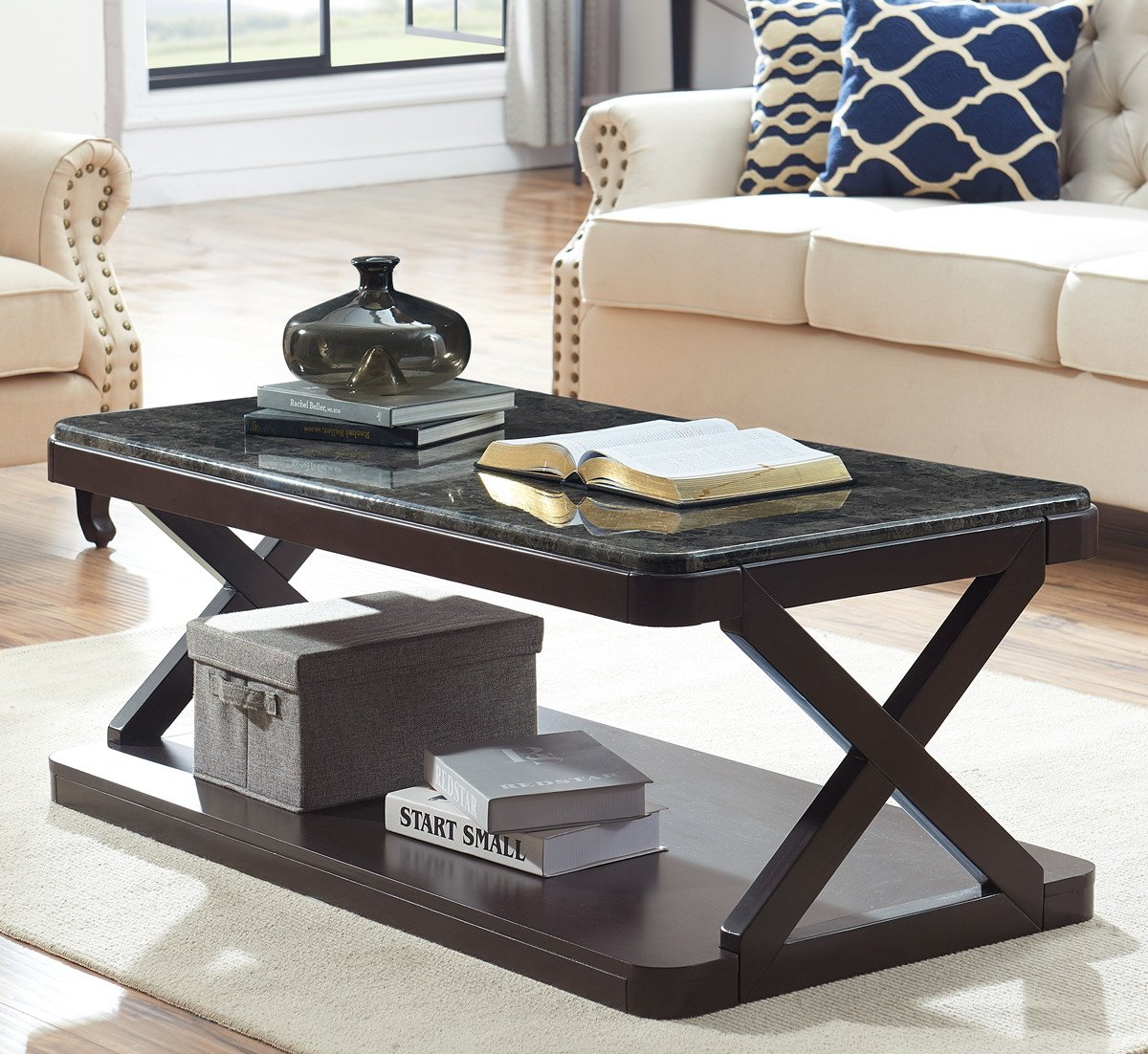 Amazon com ok furniture coffee table with faux marble top modern cocktail table with solid wood x legs for living room marble dark grey1 pcs kitchen