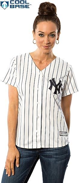 New York Yankees MLB cool base de la mujer camiseta (pequeño): Amazon.es: Deportes y aire libre