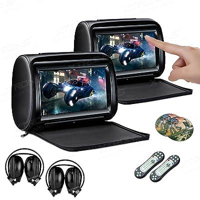XTRONS 2 x 9 Inch Pair Car Headrest DVD Player HD Digital Adjustable Touch Screen 1080P Video Auto Games HDMI Headphones: Car Electronics [5Bkhe1001120]
