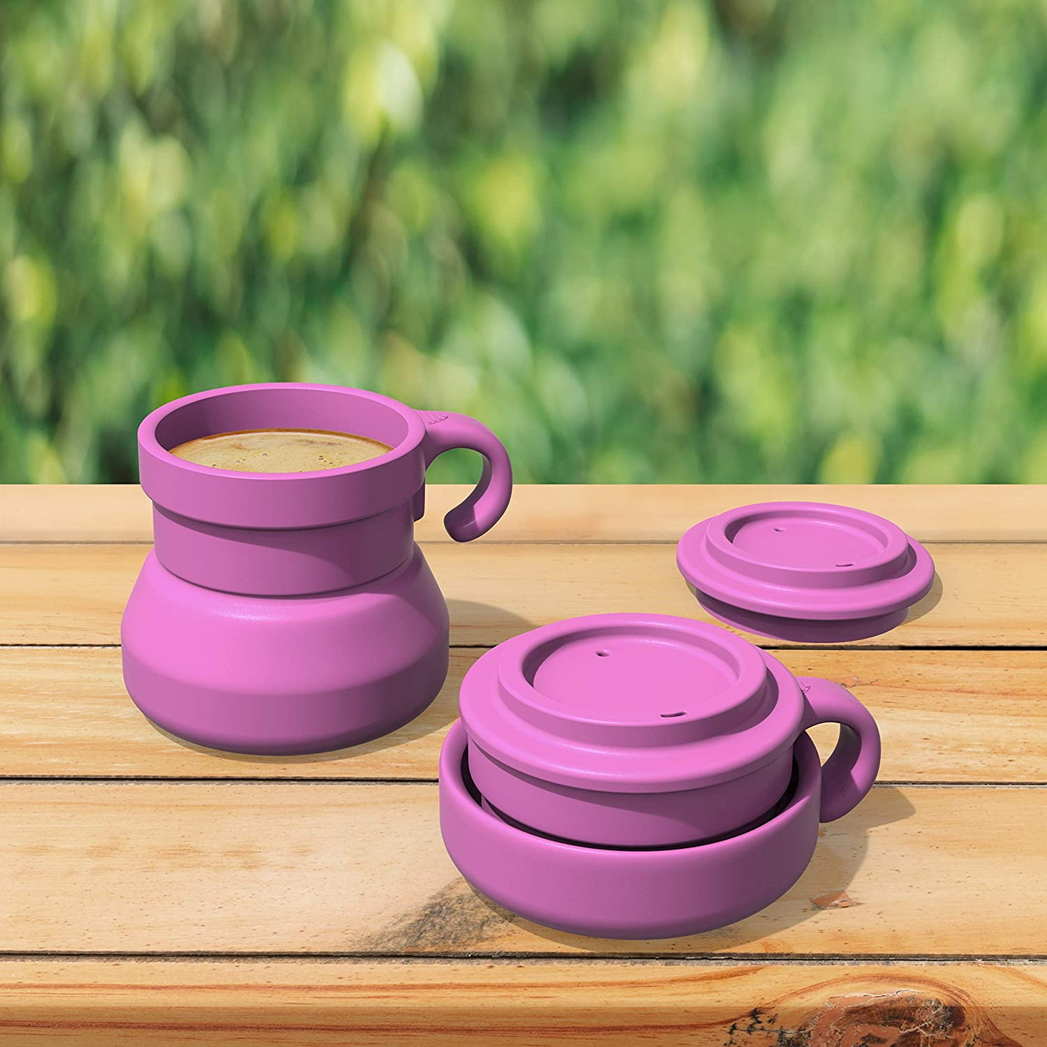 9 oz Mug with Lid Bakerpan Silicone Travel Collapsible Camping Cup Teal