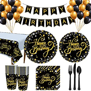 Trgowaul Birthday Party Supplies - Black and Gold Disposable Paper Plates, Napkins, Cups, Tablecover, Forks, Knives and Spoons for 24 Guests and Balloons Decorations Banner