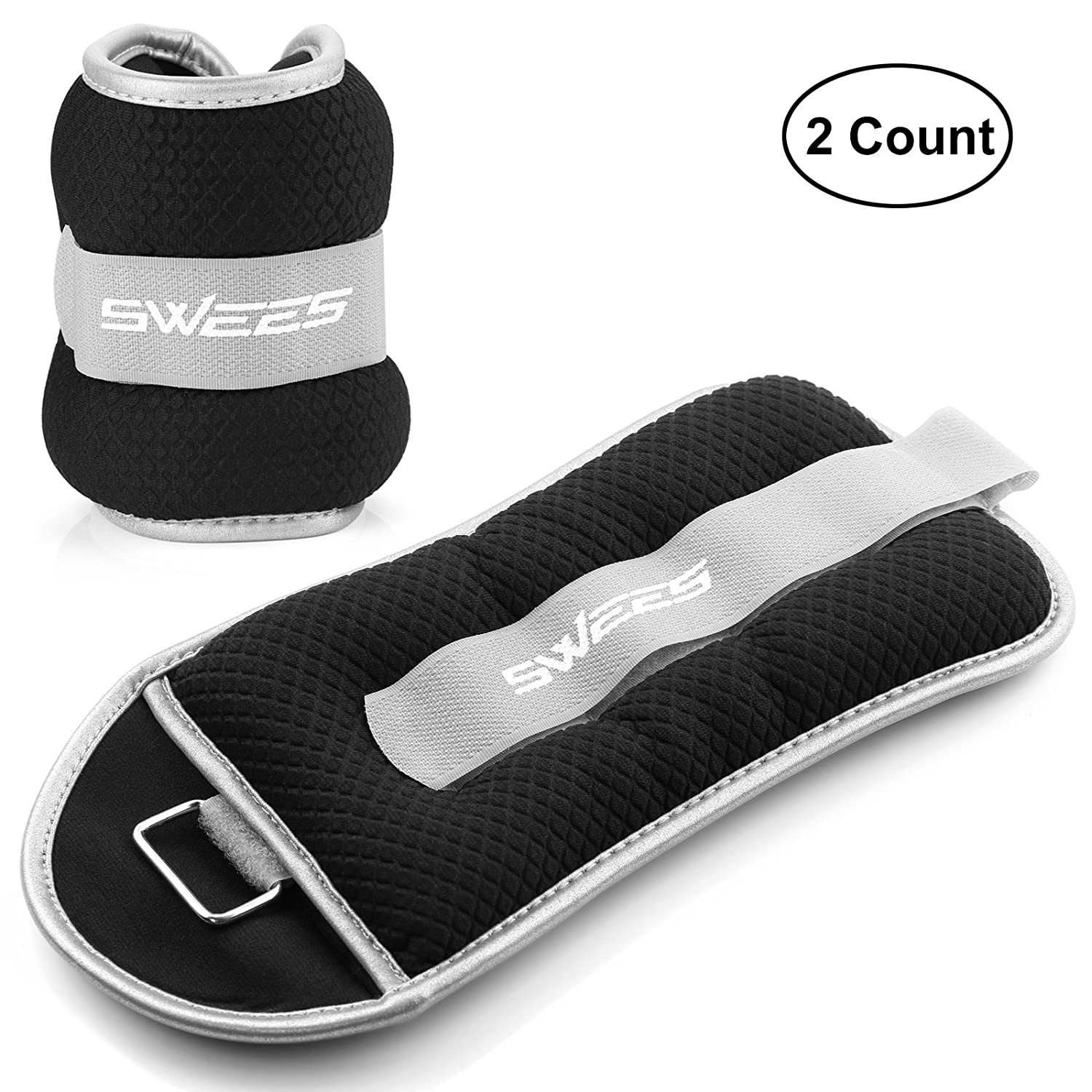 SWEES Ankle Weights (1 Pair), Ankle/Wrist Weights Pair Set with Adjustable Strap for Arm, Hand & Leg - 1 lb, 2 lbs, 3 lbs, 5 lbs for Women, Men or Children - Best for Fitness, Exercise, Walking, Gym Gymnastics ANKLE-WRIST-3LB-BLACK
