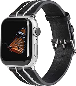 Wearlizer Genuine Leather Bands Compatible for Apple Watch 42mm 44mm, Soft Two Stripe with Wide Women Wristband Strap Replacement and Silver Adapter for iWatch Series 6 5 4 3 2 1(Black and White)