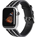 Wearlizer Genuine Leather Bands Compatible for Apple Watch 38mm 40mm 42mm 44mm Slim Women Watch Band Replacement…