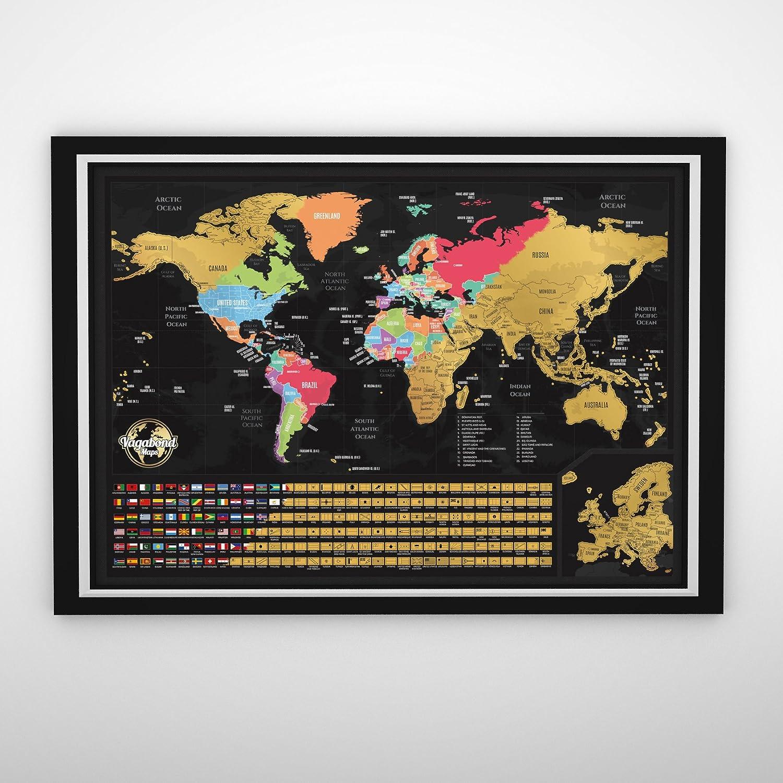 Cartina Mondo Ingrandita.Geografia 84 X 58 Centimeter Con Zoom Sulleuropa Stati Uniti Contornati Vagabond Mappa Del Mondo Da Grattare Mappa Del Mondo Con Bandiere Xxl Cartina Personalizzata Per Tenere Traccia Dei Tuoi Viaggi