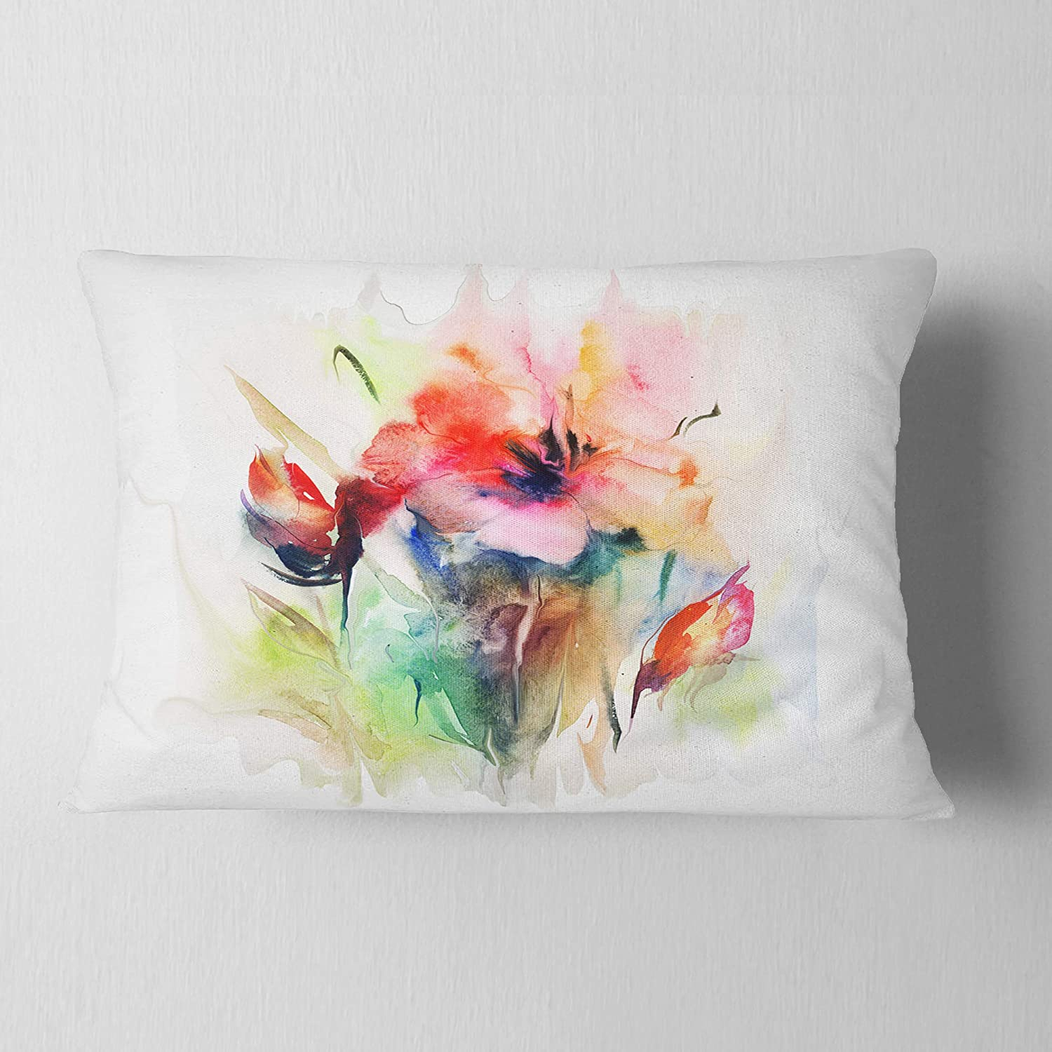 Designart CU6664-12-20 Watercolor Illustration' Abstract Floral Lumbar Cushion Cover for Living Room, Sofa Throw Pillow 12 in. x 20 in. in, Insert Printed On Both Side