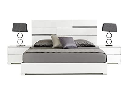 limari home the bartolemo collection modern italian crafted queen bed with crocodile textured finish silver - Lit Queen Size