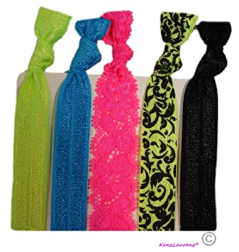 Hair Ties  quot Neon Bliss and Lace quot  - Ponytail Holders No Crease  Elastic Stretchy a83da45211b