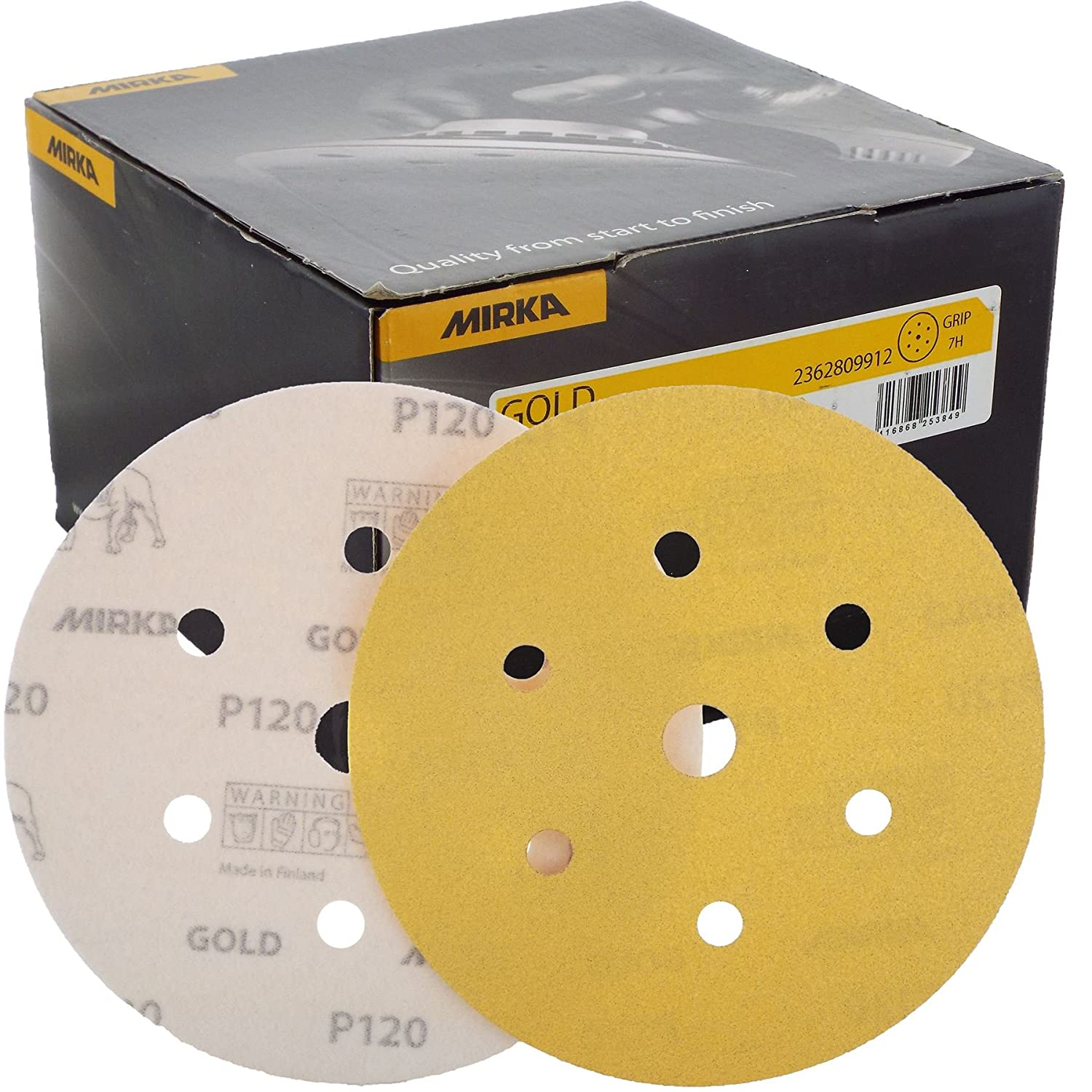 Mirka Gold Hook-It DA Sanding Discs Ø 150mm 6' 120 Grit 6+1 Hole Sander Pads Suited for sanding at high speed and are classed as a highly durable product.