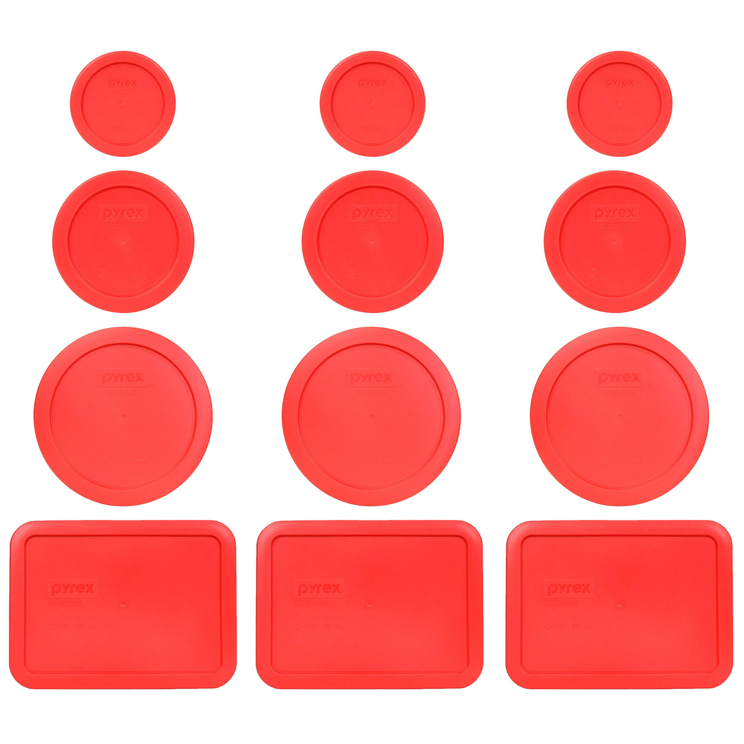 Pyrex (3) 7202-PC 1 Cup Red (3) 7200-PC 2 Cup Red (3) 7201-PC 4 Cup Red (3) 7210-PC 3 Cup Red Replacement Food Storage Lids