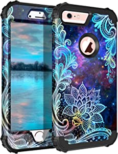 Casetego Compatible with iPhone 6S Case,iPhone 6 Case,Floral Three Layer Heavy Duty Hybrid Sturdy Shockproof Protective Cover Case for Apple iPhone 6S/6,Mandala