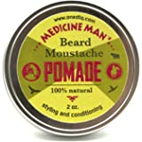 Medicine Man's Beard and Mustache Healing Balm - 2 OZ - Beard Pomade Leave-in Conditioner - All Natural & Organic Oils & Butters